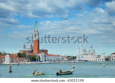 The Church of San Giorgio Maggiore and the Basilica of St. Mary of Health (Salute) in Venice, Italia. View from San Marco canal.