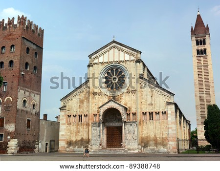The church of San Zeno - Verona, Italy - stock photo