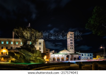 The church of Santa Maria in Cosmedin in Rome / where there is the: Bocca dela verit� . - stock photo
