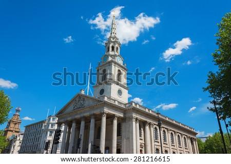 The church of St Martin's-in-the-Field London near Trafalgar Square. - stock photo