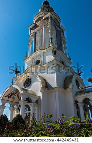 The Church of St. Nicholas in the Crimea that serves as a beacon, near the village of Malorechenskoye - stock photo