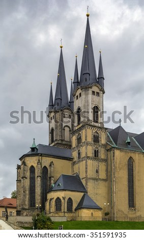 The Church of St. Nicholas was established in the 13th century as a three-naved basilica,  Cheb, Czech republic
