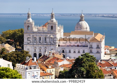 the Church of St. Vicent in Lisbon - stock photo