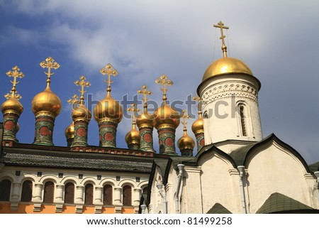 The Church of the Deposition of the Robe is a Russian Orthodox church in Moscow's Kremlin - stock photo