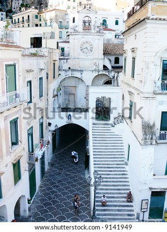 the church of the holy Salvatore in the picturesque village of Atrani on the coast of Amalfi - stock photo