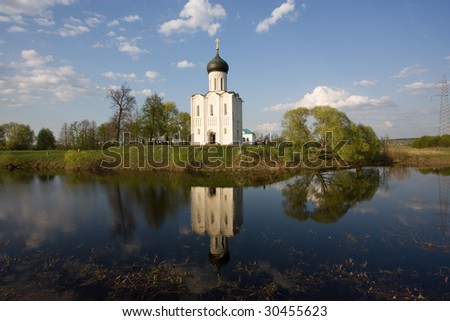 The church of the Intercession on the Nerl river - stock photo