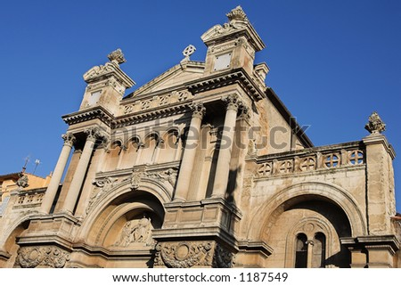 The church of the Madeleine in Aix-en-Provence, France.  Copy space. - stock photo