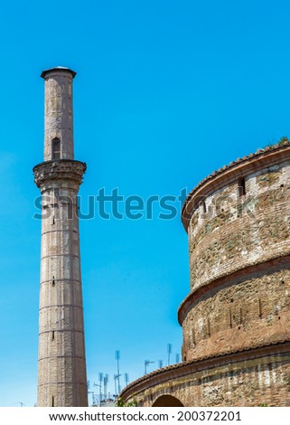 "The Church of the Rotonda building details in Thessaloniki, built as the ""Tomb of Galerius""  - stock photo"