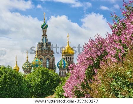 The Church of the Savior on Spilled Blood in St.-Petersburg, Russia. View from Field of Mars - stock photo
