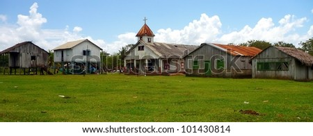 The church of the village in The Rio Platano Biosphere Reserve in Honduras