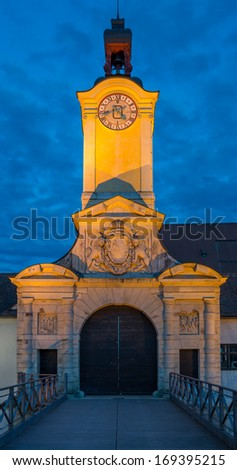 The church tower of the ancient castle in Ingolstadt in Bavaria at night - stock photo