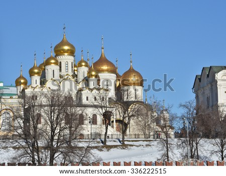 The Churches Of The Moscow Kremlin. The Golden domes of the Kremlin churches.