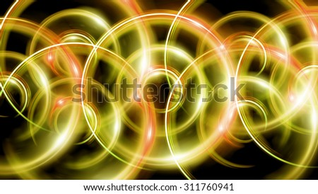 The circle shape of ring lens flares with dark background