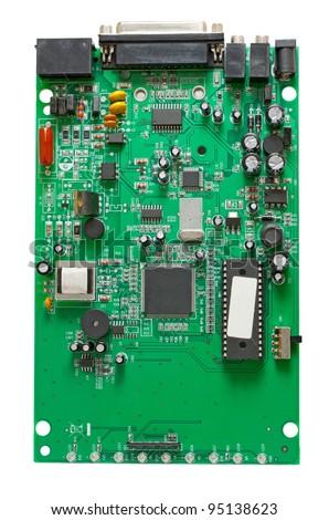 The circuit of an external dial-up modem - stock photo
