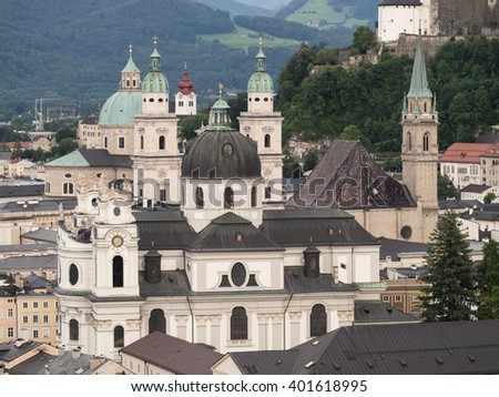 The city and the hill fort in the background of Salzburg, 2015 - stock photo