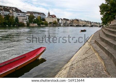 The city Basel on the Rhine river, Switzerland - stock photo