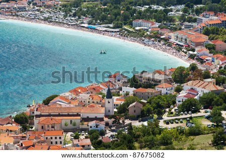 the city Baska on island Krk - Croatia - stock photo