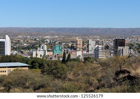 The city centre of Windhoek in Namibia - stock photo