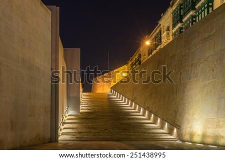 The city gates of Valletta in Malta - stock photo
