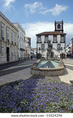 The city hall in the center of Ponta Delgada at the island of Sao Miguel which is a part of the Azores - stock photo