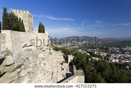 The city of Alcala la Real seen from the Fortaleza de La Mota, Spain - stock photo