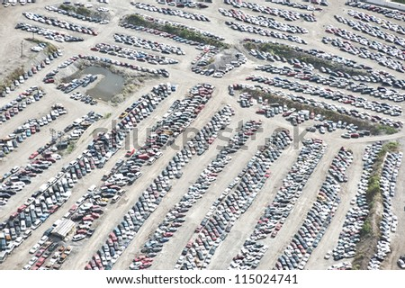 The City of Chicago impound lot for vehicles on a cloudy day. - stock photo
