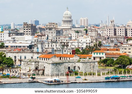 The city of Havana including the old town and several iconic buildings - stock photo