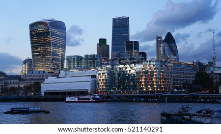 The City of London from river Thames, United Kingdom