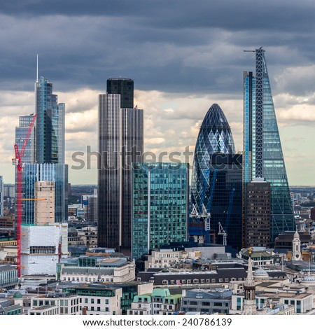 The City of London in the afternoon - stock photo