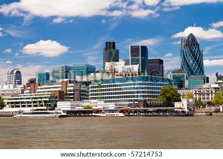 The City of London skyline in a clear summer day - stock photo
