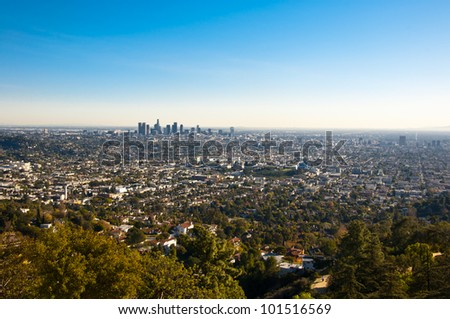 The city of Los Angeles as seen from Griffith Park Observatory