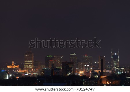 The city of Nashville at night just after sunset