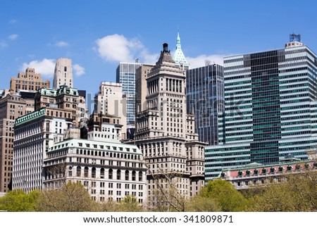 The city of New York tall buildings. Glass Windows - stock photo