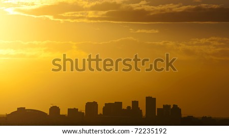 The city of Phoenix, AZ at sunset - stock photo