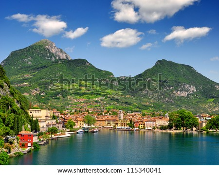 the city of Riva del Garda, situated in the northern part of the largest Italian lake, Lago di Garda - stock photo