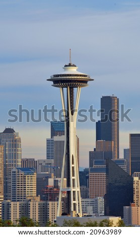 The city of Seattle and Space Needle - stock photo
