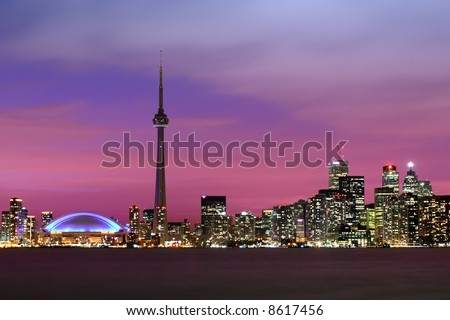 The city of Toronto at night. - stock photo