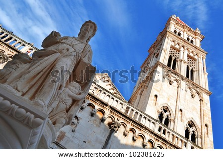 The city of Trogir in Dalmatia, Croatia on Adriatic Coast - stock photo