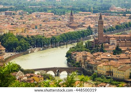 The city of Verona Italy - aerial view - stock photo