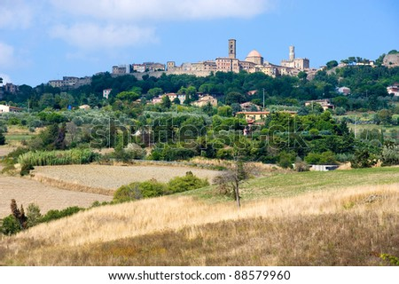 The city of Volterra in the landscape of Tuscany in Italy.