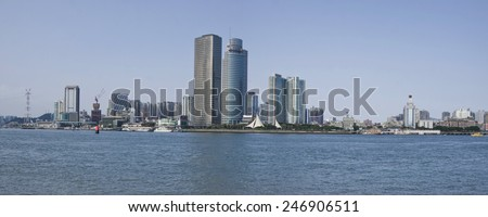 the city of xiamen,view from gualangyu - stock photo