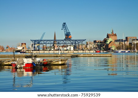 The city port of Rostock (Germany).