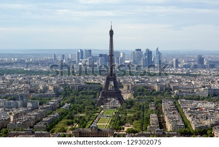 The city skyline at daytime. Paris, France. Taken from the tour Montparnasse with the Eiffel Tower, Le Grande Palais, Les Halles, St. Eustace & La Defense clearly visible - stock photo