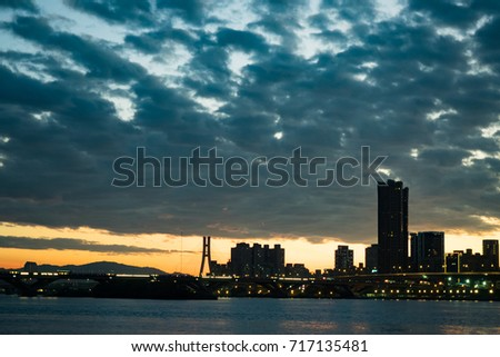 The City skyline at twilight