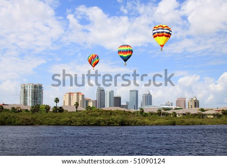 The city skyline of Tampa Florida on a cloudy day - stock photo