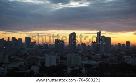 the city view and sunrise