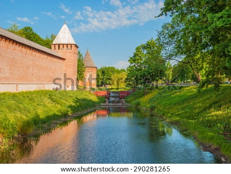 The city walls and towers of the ancient fortress of Smolensk