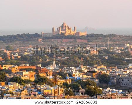 The Cityscape of Jodhpur with Umaid Bhawan Palace - stock photo