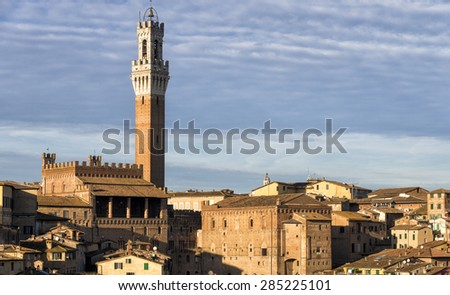 The cityscape of Siena, in the hearth of Tuscany - stock photo