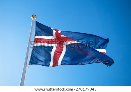 The civil national flag of Iceland - stock photo